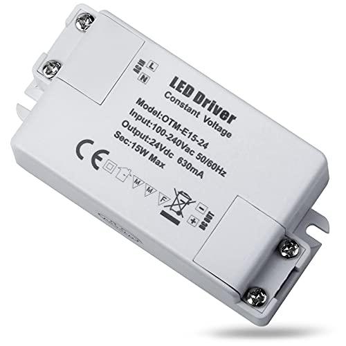REYLAX® 1pcs LED Driver 24V 15W 630mA, Trasformatore di Commutazione da CA a CC, Alimentatore a Tensione Costante, Alimentatore a Bassa Tensione per Applicazioni LED