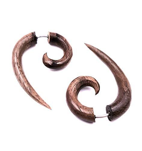 Faux Dilatador pendientes Piercing madera étnico Gauge Wooden Wood-Fake espiral