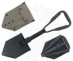 commercial Real military style tri-fold groove tool with shovel cover (e-tool) ash shovel lowes