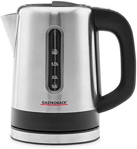 Gastroback 42435 Design Wasserkocher Mini, 1 Liter Behälter mit Füllstandsanzeige, beleuchtetes Bedienfeld, Warmhaltefunktion, 2.200 Watt, 18/8, Schwarz, Edelstahl