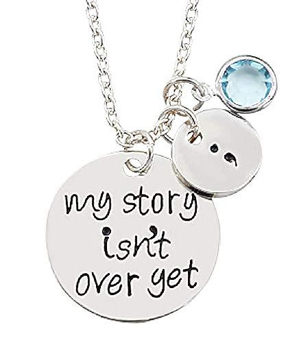 Vrouwelijke ketting - vrouw - mijn verhaal is nog niet voorbij - - blauwe glitter - kerstmis - origineel cadeau-idee - sierraden - verjaardag - zilver - sieraden strass my story isn't over yet