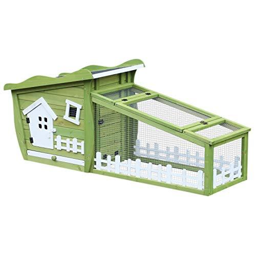 Pawhut Clapier Cage à Lapins Style cabane et pré dim. 155L x 55l x 65H cm Multi-équipement Bois Massif pin Vert Blanc