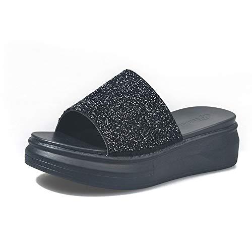 Czcrw Plattform Slippers Frauen zwängen Slides Frauen Hausschuhe Sommer-beiläufige High Heels Sandaletten Strass Starke untere Slippers (Color : Schwarz, Größe : 37EU)
