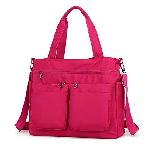 Bandolera para mujer, bolso de nailon con múltiples bolsillos, bolsas de hombro grandes para viajes, trabajo y uso diario., color Rojo, talla Large