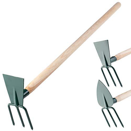 KADAX Hacke, Gartenhacke, Doppelhacke für Garten, zum lüften lockern und jäten des Bodens, Gartenzubehör aus Metall, Unkrauthacke zum entfernen von Unkraut (klein, 3 Zinken - Rechteck, mit Holzstiel)