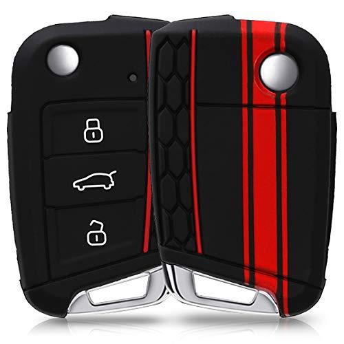 kwmobile Funda Compatible con VW Golf 7 MK7 Llave de Coche de 3 Botones - Carcasa Protectora Suave de Silicona - Rally
