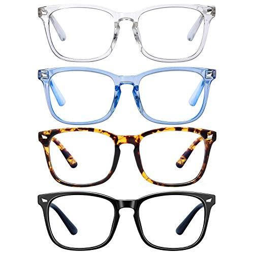 Blue Light Blocking Glasses - Blue Light Glasses for Teens/Women/Men, Blue Light Blocker Glasses Anti Eyestrain&UV/Reading/GamingGlasses/Computer Glasses, Non Prescription Glasses(4 Pack)