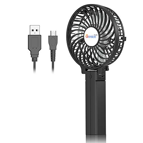VersionTECH. Mini Portable Fan, USB Battery Operated Desk Fan, Small Personal Handheld Table Fan with USB Rechargeable Cooling Folding Electric Fan for Travel Office Room Household Black