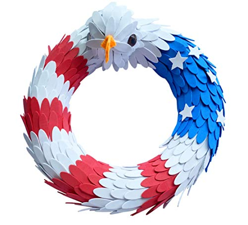 American Eagle Wreath, Patriotic Woodchip Wreath Fourth of July Door Wreath/Veteran Gifts for...