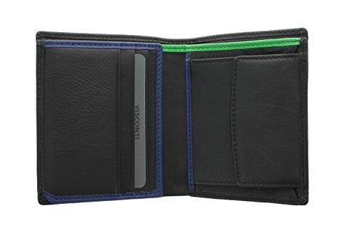 Portafoglio in Pelle Compatto Visconti BOND Collezione DR NO BD22 Nero/Cobalto/Verde