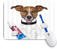 PATINISAマウスパッド おかしい犬かわいい茶色のペット子犬ブラッシング歯動物ヒップスター ゲーミング オフィス おしゃれ 良い 滑り止めゴム底 ゲーミングなど適用 マウス 用ノートブックコンピュータマウスマット