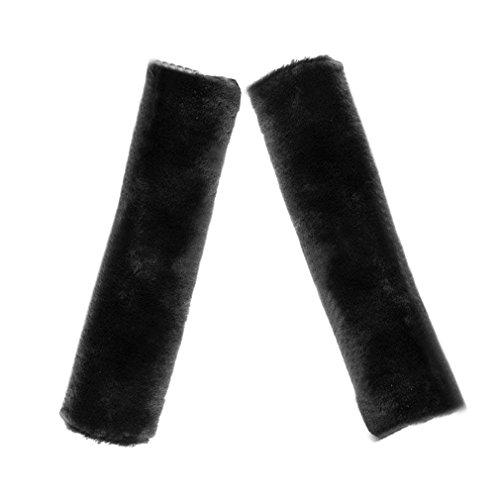 SXYHKJ Almohadilla de piel suave de imitación para el hombro para cinturón de seguridad | dos almohadillas para el cinturón de seguridad del asiento del coche (negro)
