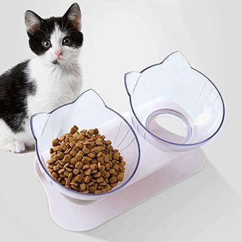 WWXX Doble Comederos Perros Gatos,Lavabo Doble Antideslizante For Comida For Gatos con Base Antideslizante,Ideal For Gatos Y Perros Pequeños (Color : Clear)