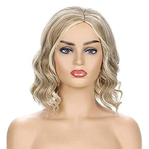 Mesdames Élégant Ondulé Blonde Perruque Perruque Courbée Des Pantalons Parfait Pour Toute Ton De La Peau Quotidienne Robe De Fête Professionnelle Portant La Simulation