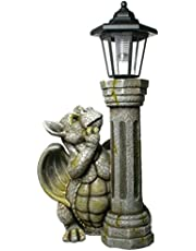 Udo Schmidt Drakenkind met solar lantaarn draak figuur Gargoyle tuinfiguur met zonne-lantaarn