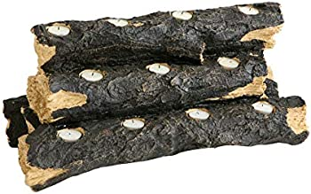 SEI Furniture 24 Inch Resin Tealight Faux Fireplace Log Candle Holder