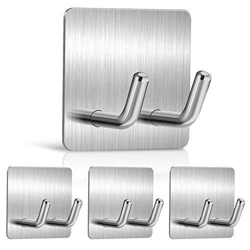 4 ganchos adhesivos de alta calidad – Ganchos de pared de acero inoxidable resistentes con doble espiga, toalla adhesiva fuerte..