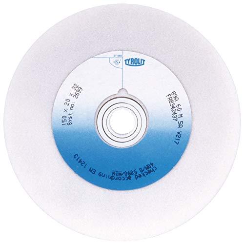 Tyrolit 2762 Schleifbockscheibe Edelkorund Form 1 gerade, Korn 60, 150 mm x 25 mm x 32 mm