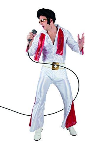 Boland 83526 - Erwachsenenkostüm Rock 'n Roll Star, Rot-Weiß, Overall für Herren, Sänger, Superstar, Kostüm, Karneval, Mottoparty