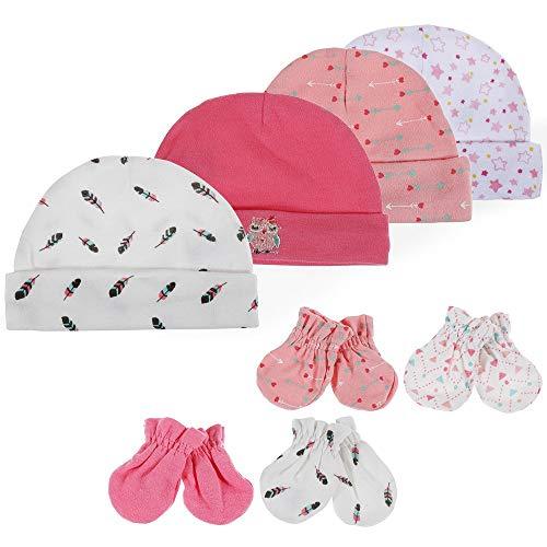 Lictin Bonnets de Naissance et Moufles de Protection - 100% Coton 4pcs Bonnets Coordonnés et 4 Paires Mitaines Scratch de Protection Anti-griffures Bébé Fille Garçon (0-6 Mois)