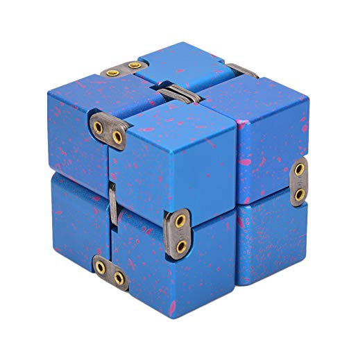 Akozon Oneindige Kubus Aluminium Kubus Puzzel Decompressie Lichtgewicht Compact voor Designer Leraar Student(Blauwe sterrenhemel)