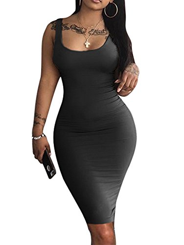 LAGSHIAN Women's Sexy Bodycon Tank Dress Sleeveless Basic Midi Club Dresses Black