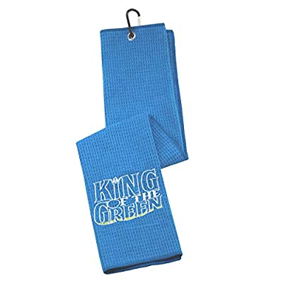 G2TUP Golf Lover Golf Father Gift King of The Green Embroidered Golf Towels for Golf Bags with Clip (King of The Green)