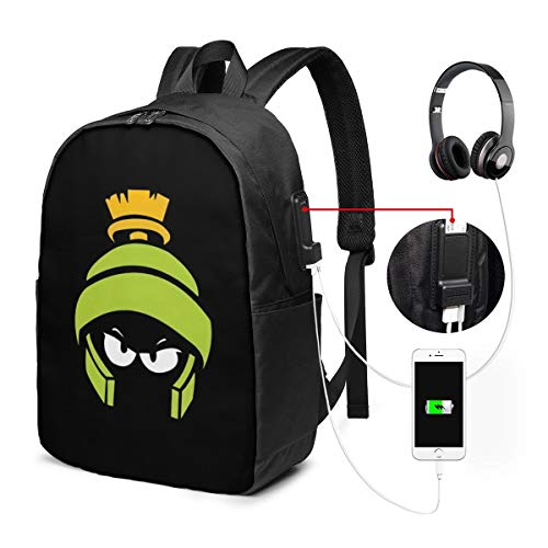 Shinyok Marvin-The-Martian The 17-Inch Laptop Backpack with USB Interface is Durable, Wrinkle-Resistant and Stretchable, Suitable for Schools, Offices, Travel, Outdoor Sports, Etc.
