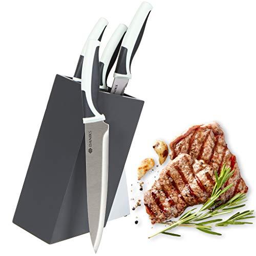DANIKS Messerset mit Messerblock Messerblockset, 4-teilig (9cm, 12.5cm, 20cm, 20cm), Kochmesser / Chefmesser, extra scharfe Messerklinge mit ergonomischem Griff