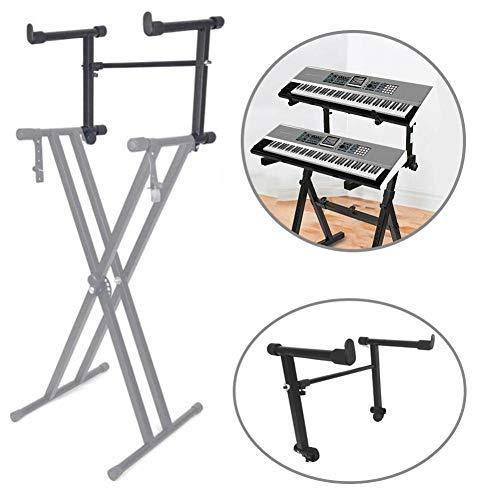 Knowled Keyboard-Ständer mit 2 Ebenen, verstellbar, elektronischer Klaviertastatur-Ständer, Instrumentenhalter für die meisten Keyboards