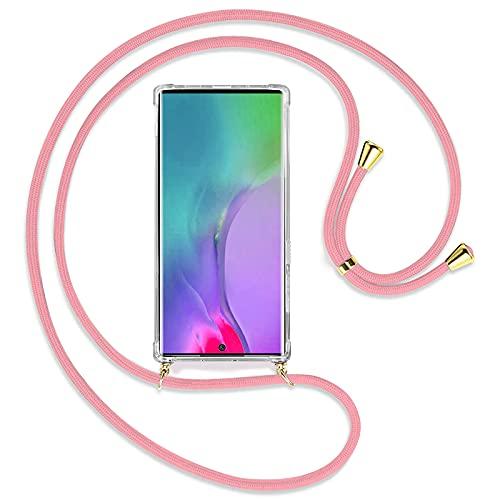 TBOC Funda para Samsung Galaxy Note 10 Plus - Note 10+ 5G [6.3'] - Carcasa Transparente con Cuerda [Rosa] para Móvil Cordón Ajustable Práctico Collar de Moda Cadena para Cuello Resistente Arañazos