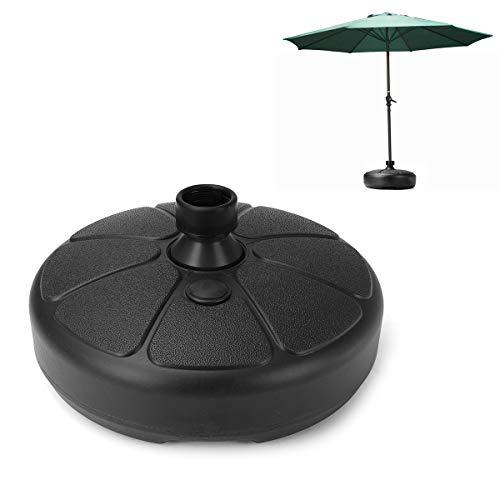 dDanke Base de plástico para sombrilla de 30 kg, rellena de Arena y Agua, para Exteriores, Patio, Patio, Paraguas, Soporte de Parasol Apto para Barras de 35 – 38 mm