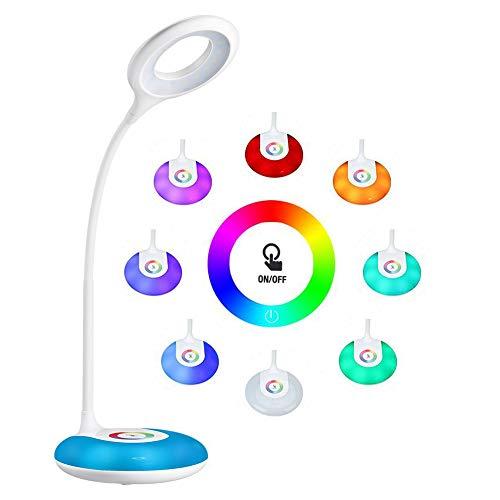 schreibtischlampe kinder, hihigou Dimmbare Augenschutz Leselampe 3.2W, Touch-Steuerung Farbwechsel und 3 Helligkeitsstufen, USB-Ladeanschluss, 360 Grad Flexibel Tischlampe Licht