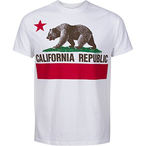 California State Flag Short Sleeve Front Print Shirt - White Large