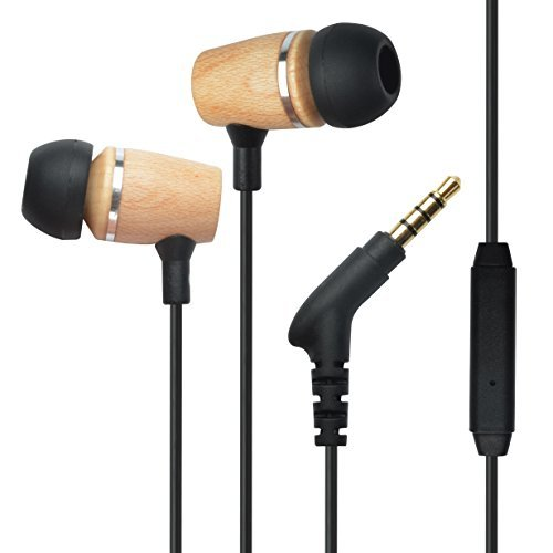Francois et Mimi Elite Genuine 3.5mm Wood in-Ear Noise-isolating Earbuds Headphones with Mic, Retail Packaging!