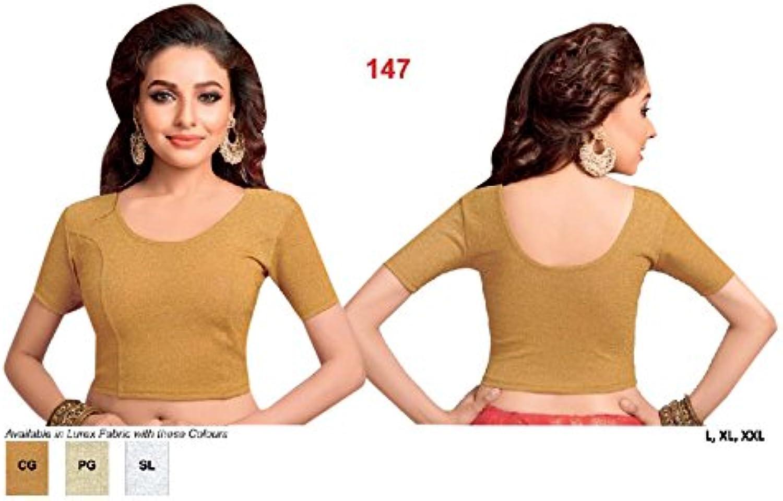 Copper Ready to wear Stretchable Lycra Readymade Saree Blouse Sari Choli Crop Top (L,XL,XXL) 147