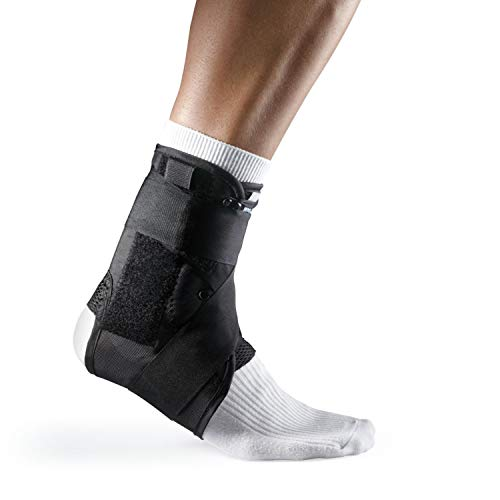LP Support 597 Sprunggelenkbandage mit Stabilisierungsbändern, Knöchel-Bandage, Fuß-Stütze für Sport und Alltag, 597 Knöchel-Bandage, Fußgelenks-Orthese, Größe:S, Farbe:schwarz