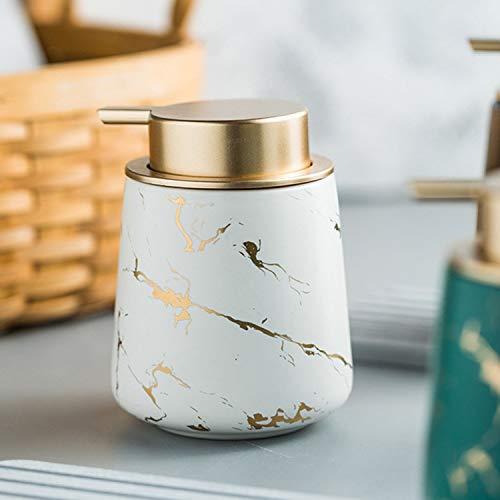 Luxury Gold Soap Dispenser for Kitchen Sink, Refillable Liquid Soap Dispenser with Marbling, Ceramics Hand Soap Dispenser for Bathroom, 13.5 OZ (White)