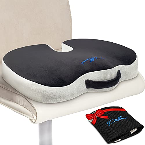 PILLANI Seat Cushion for Office Chair – Firm Driver Car Seat Cushion for Back Pain - Desk & Wheelchair Sitting Pad - Memory Foam Orthopedic Pillow for Coccyx, Tailbone, Butt & Sciatica Pain Relief
