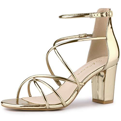 Allegra K Women's Strappy Crisscross Strap Block Heels Gold Sandals - 8.5 M US