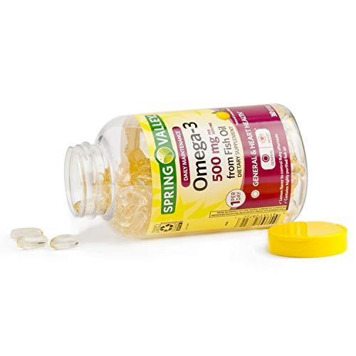 Spring Valley Omega-3 500 mg from Fish Oil Heart Health, Lemon, 360 Softgels