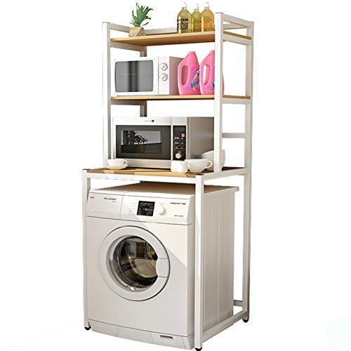 Estante de almacenamiento de tres capas para lavadora de tambor de baño, estante de almacenamiento para el baño, color negro y blanco de arce