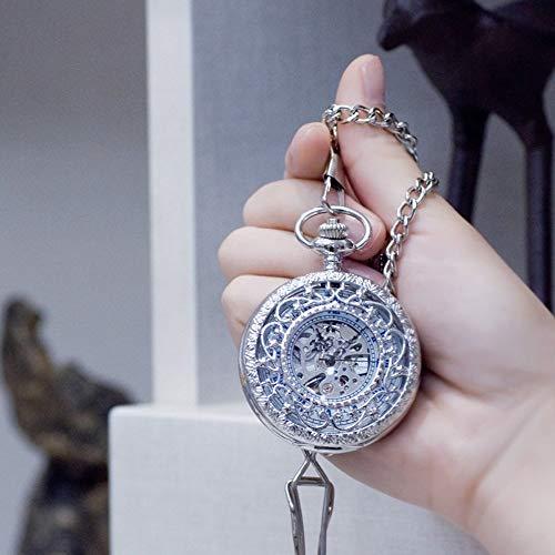 J-Love Secret Garden Reloj de Bolsillo mecánico automático Retro Clamshell Tallado Monedero...