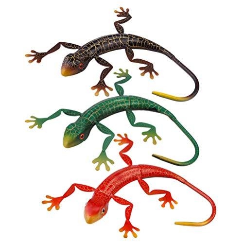 SHWYSHOP 3pcs Metal Gecko Wall Art Decor Hierro 3D Lagarto Pared Escultura Artesanía Inspiración Estatua Colgante Decoración Adornos