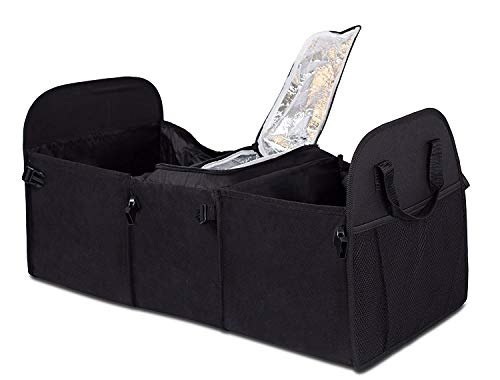 Internet's Best Trunk Storage Organizer with Cooler Compartment - Large Car Cargo Storage Organizer - Collapsible
