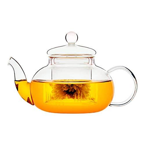 Teiera in vetro, bollitore per tè con infusore in vetro borosilicato trasparente, teiera per tè a foglie sciolte, acqua calda ghiacciata, succhi di frutta, Beige, 12.5 * 8 cm