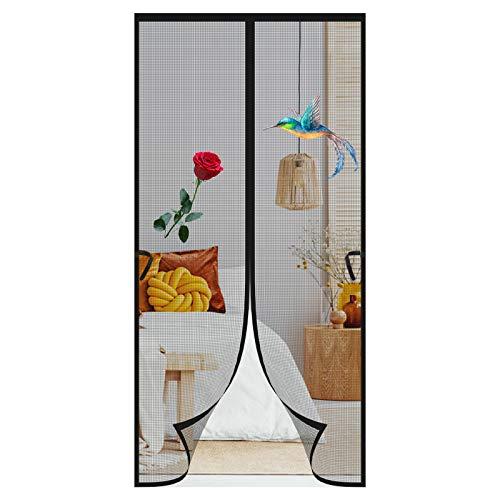 Mosquitera Puerta Magnetica, 90 x 210 cm Protección de Insectos Cortina Magnética Cortina, Cierre Magnético Automático Fácil Acceso para Niños y Mascotas, para Sala de Estar Balcón