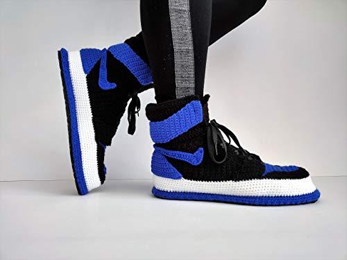 Crochet Jordan Royal Blue Home Shoe, Sneakers Basketball Crochet Slippers, Custom Printed Knitting Handmade Jordan Men Best Gift