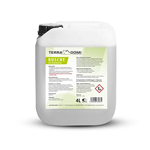 TerraDomi Rusche die Steindusche, 4 L, Steinreiniger für bis zu 1600 m², Reinigungsmittel für saubere Wege & Plätze, Wegerein, biologisch abbaubar