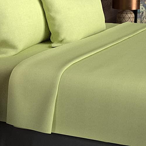 Soleil d'Ocre 216821 Drap Plat coton 57 Fils Vert 260 x 300 cm